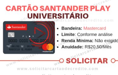 SOLICITAR CARTÃO DE CRÉDITO ANTANDER PLAY UNIVERSITARIO